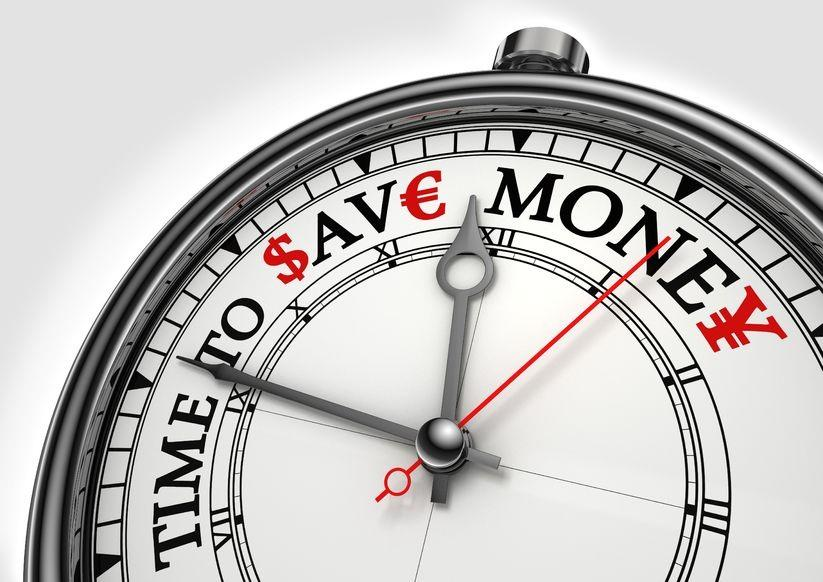 Clock showing Time : Save : Money