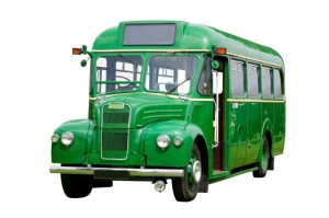 Old Fashioned Green Bus