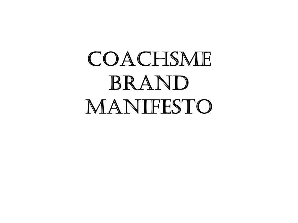 CoachSME Manifesto