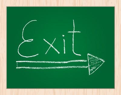 Exit Written on a Blackboard