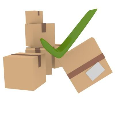 Brown Boxes with Green Tick