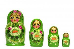 4 Green Russian Dolls