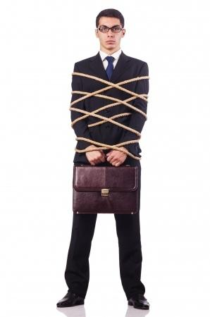 Suited Man Wrapped in Rope