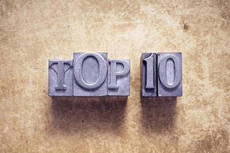top ten phrase made from metallic letterpress type